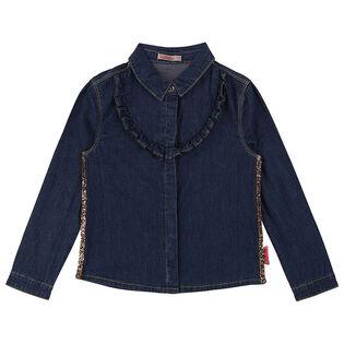 Girls' [4-6] Denim Ruffle Shirt