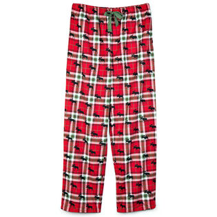 Men's Holiday Moose On Plaid Pant