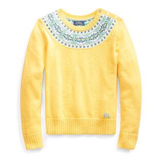Junior Girls' [7-16] Fair Isle Cotton-Blend Sweater