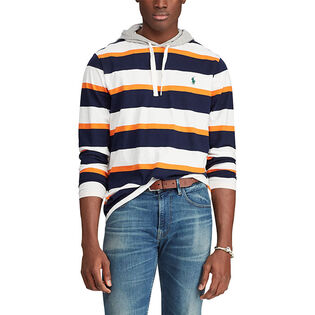 Men's Striped Cotton Hooded Top