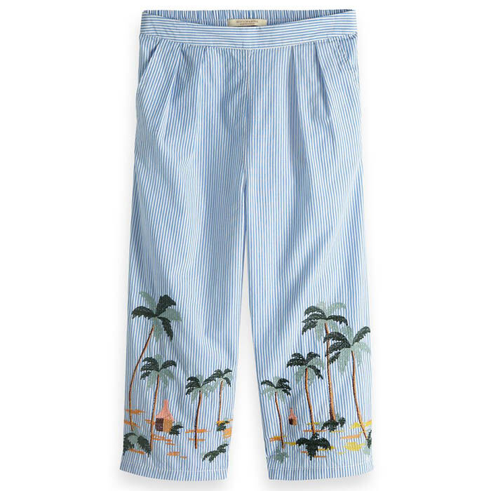 Junior Girls' [8-16] Palm Tree Embroidery Pant