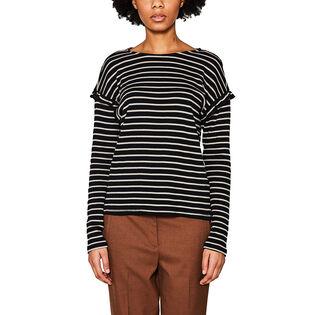 Women's Striped Ruffle Top