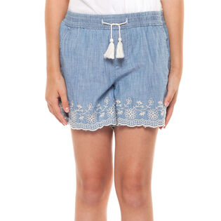 Junior Girls' [7-14] Embroidered Chambray Short