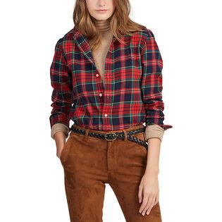 Chemise à carreaux en coton pour femmes