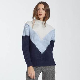 Women's Tri-Colour Shaker Mock Sweater