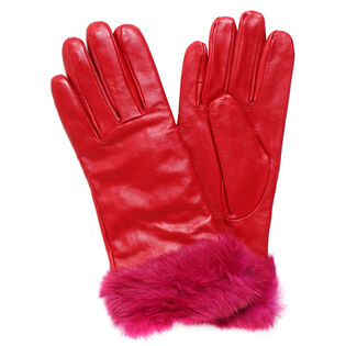 Women's Colour Fur Leather Glove