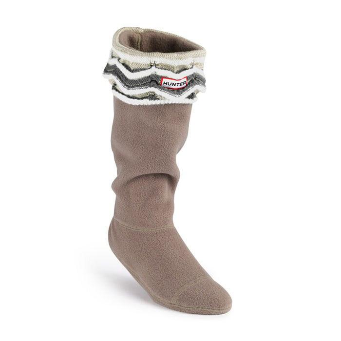 Zig Zag Striped Cuff Welly Sock (Natural)