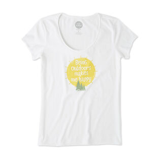 Women's Outdoors Makes Me Happy Smooth Scoop T-Shirt
