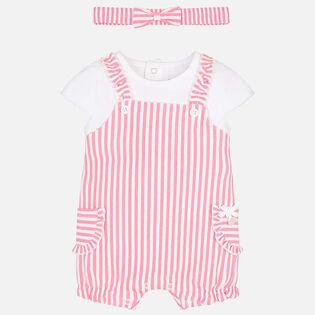 Baby Girls' [0-12M] Striped Headband Romper Set