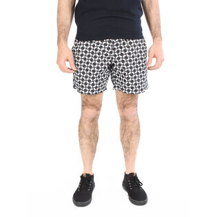 Men's Optical Mod Stripe Effect Print Swim Short