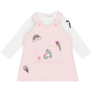 Baby Girls' [6-24M] Top + Overall Dress Two-Piece Set