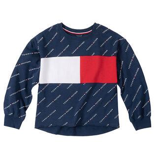 Junior Girls' [7-16] Logo Pattern Crew Sweatshirt