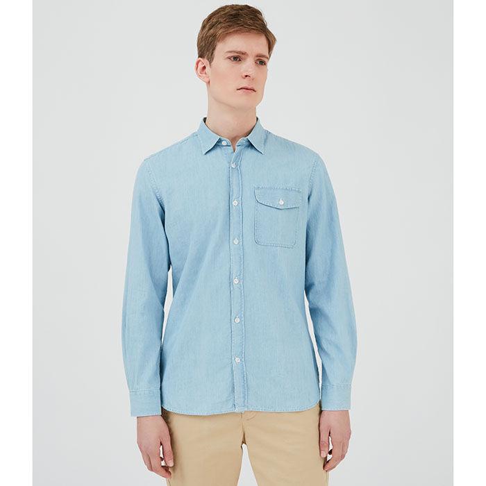 Men's Slim Straight Denim Shirt