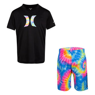 Boys' [4-7] Tie-Dye Rashguard + Swim Trunk Two-Piece Set