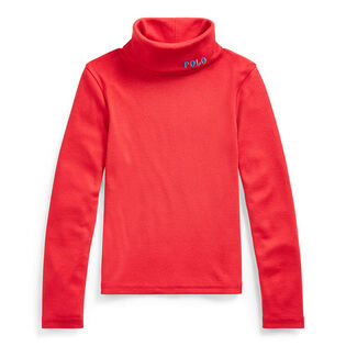 Girls' [5-6X] Ribbed Cotton-Blend Turtleneck Top