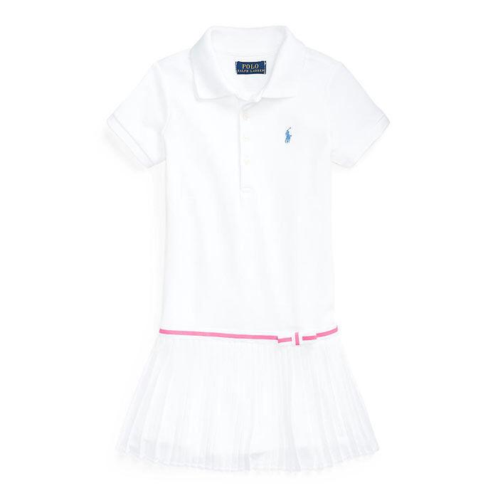 Robe polo en maille plissée pour filles [2-4]