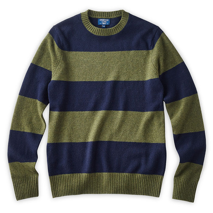 Men's Wide Stripe Crew Sweater