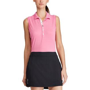 Women's Textured Stripe Mesh Golf Polo