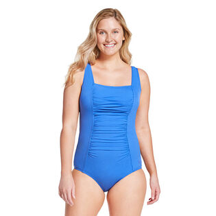 Women's Solid Shirred Tank One-Piece Swimsuit