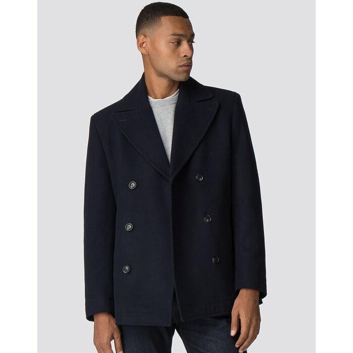Manteau en laine à double boutonnière pour hommes
