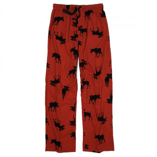 Men's Moose On Red Flannel Pajama Bottom