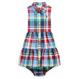 Ensemble robe et culotte bouffante à carreaux pour bébés filles [3-24M]