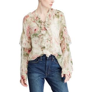 Women's Floral Lace-Up Silk Blouse
