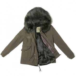 Women's Fur-Lined Canvas Army Mini Parka