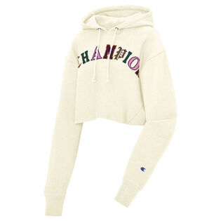 Women's Reverse Weave® Old English Cropped Raw Hoodie