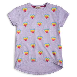 Junior Girls' [8-10] Rainbow Hearts Circle T-Shirt