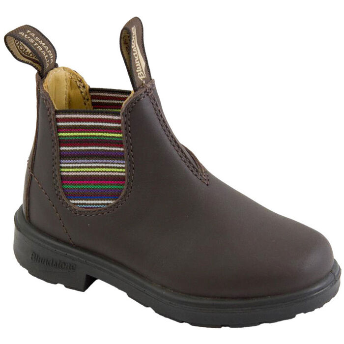 #1413 Kids' Blunnies Boot In Brown With Striped Elastic