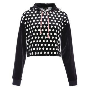 Women's Allover Dot LTWT Velour Crop Hoodie