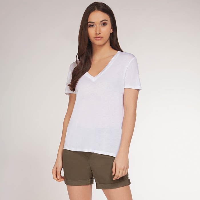 T-shirt avec encolure en V pour femmes