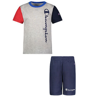 Boys' [2-4] Colourblock Script Tee + Short Two-Piece Set