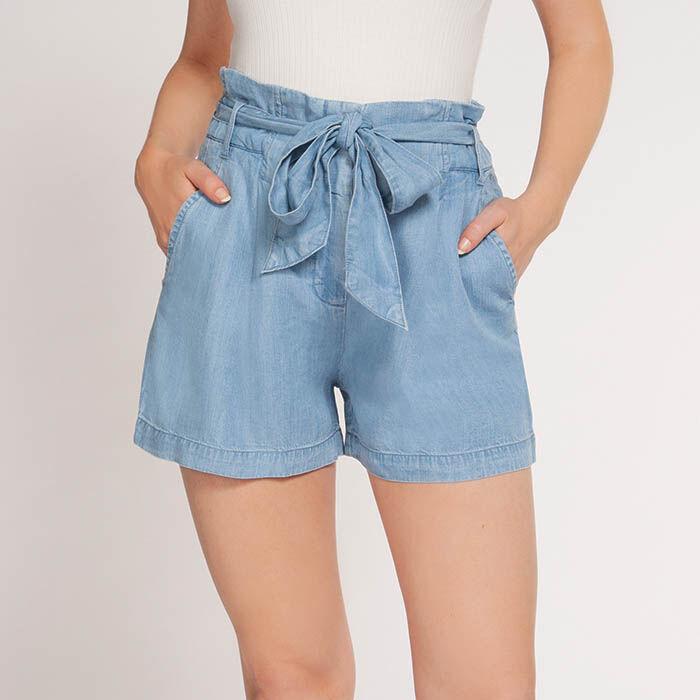 Women's High Waist Chambray Short