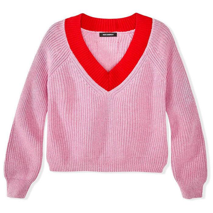Women's Shaker Contrast Cropped Sweater