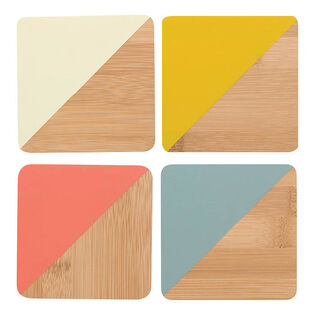 Angle Bamboo Coaster Set