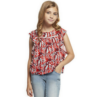 Junior Girls' [7-14] Ruffled Tropical Print Top