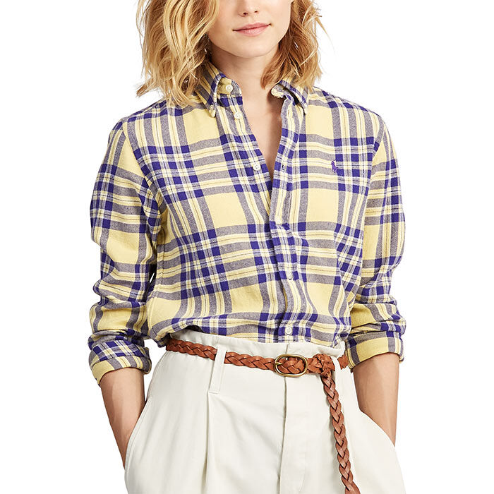 Chemise en tissu croisé à carreaux classique pour femmes
