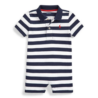Baby Boys' [3-24M] Striped Mesh Polo Shortall