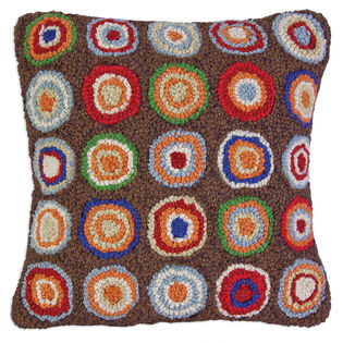 Pennies Hooked Wool Pillow