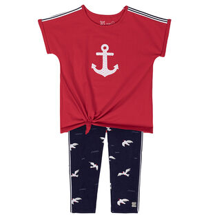 Girls' [3-6] Nautical Tunic + Legging Two-Piece Set