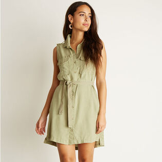 Women's Sleeveless Patch Pocket Shirt Dress