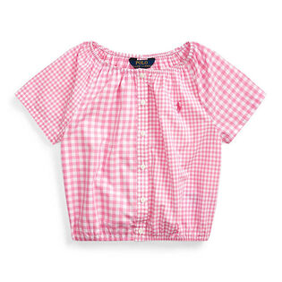 Girls' [5-6X] Mixed-Gingham Cotton Top