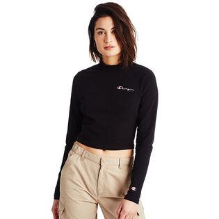 Women's Long Sleeve Mock Crop Top
