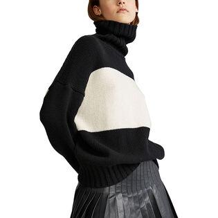 Chandail en laine à blocs de couleurs pour femmes