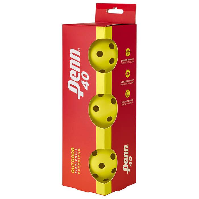 Balles de pickleball Penn 40 pour extérieur (paquet de 3)