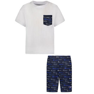 Boys' [2-4] Multi Script Pocket Tee + Short Two-Piece Set