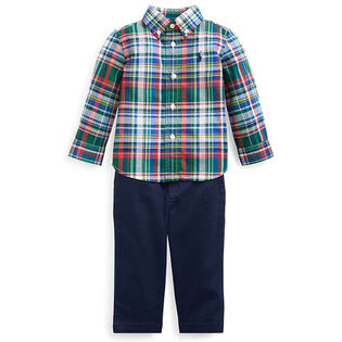 Baby Boys' [3-24M] Plaid Shirt + Belted Pant Two-Piece Set