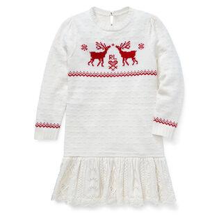 Robe-chandail à rennes pour filles [5-6X]